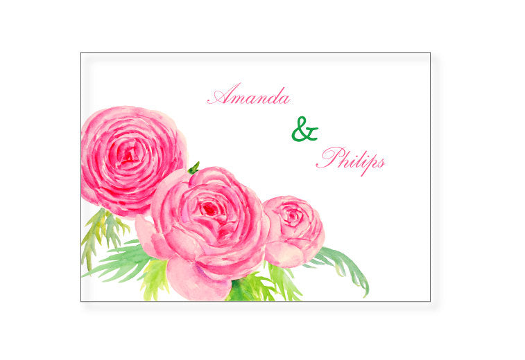 watercolor pink and purple ranunculus clipart, wedding flower illustration