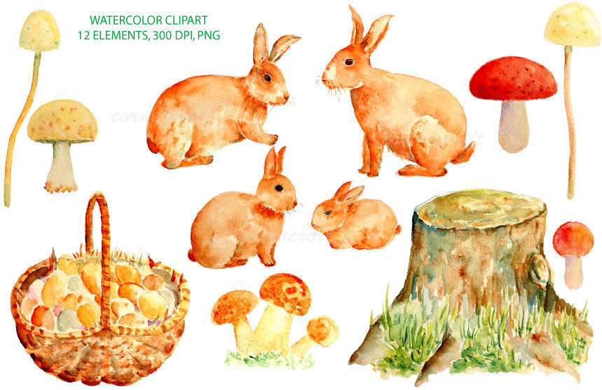 Watercolor clipart easter bunny, rabbit family, woodland creature