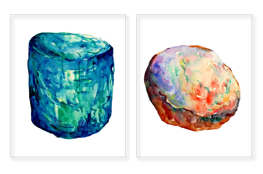 watercolor natural gemstones, diamond, turquoise, amber, ruby and emerald for instant download.