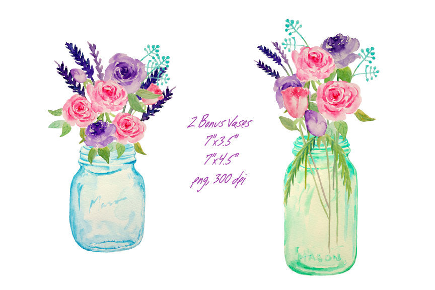 watercolour vase of flowers, mason jar flower bouquet, wedding flowers, wedding clipart