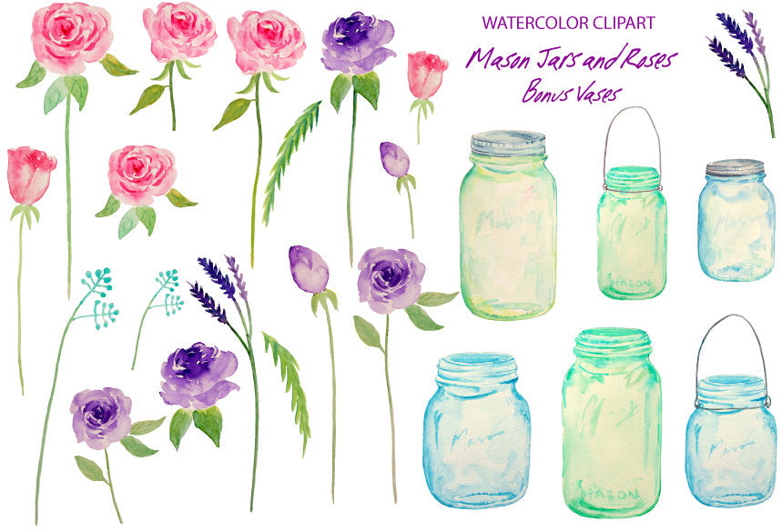 Watercolor clipart mason jar, roses, pink rose, purple rose, instant download