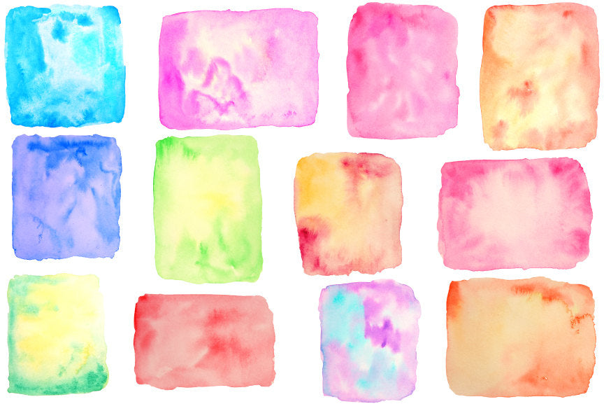 12 watercolor square & rectangle shapes for instant download