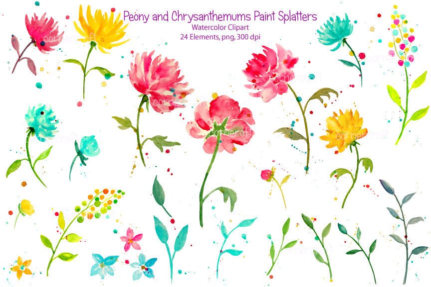 abstract pink, yellow peony and chrysanthemum watercolor clipart, seamless pattern for instant download