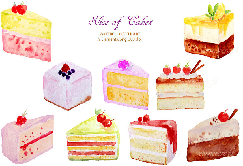Watercolor clipart cake slices, cake clipart, watercolor cake illustration, corner croft design.