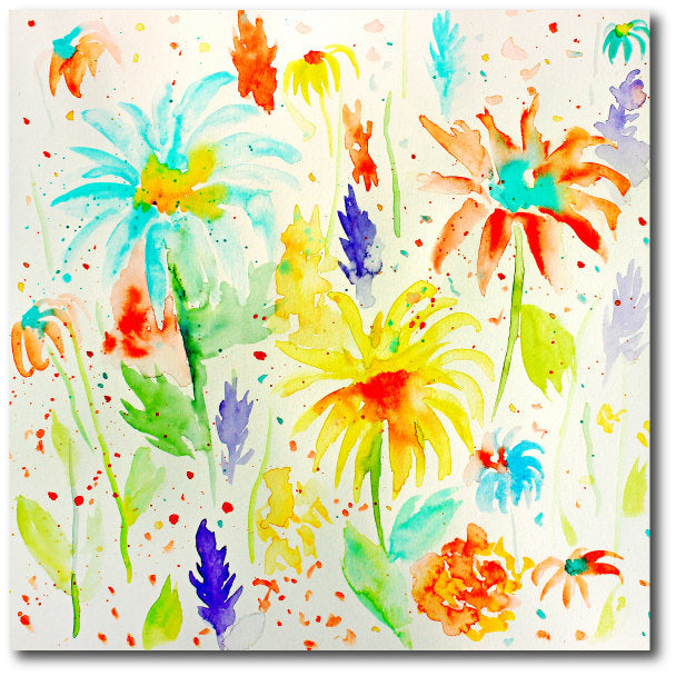 watercolor floral pattern, abstract watercolor floral Patterns of roses, irises, poppies, daisies and ranunculus with paint splatters.