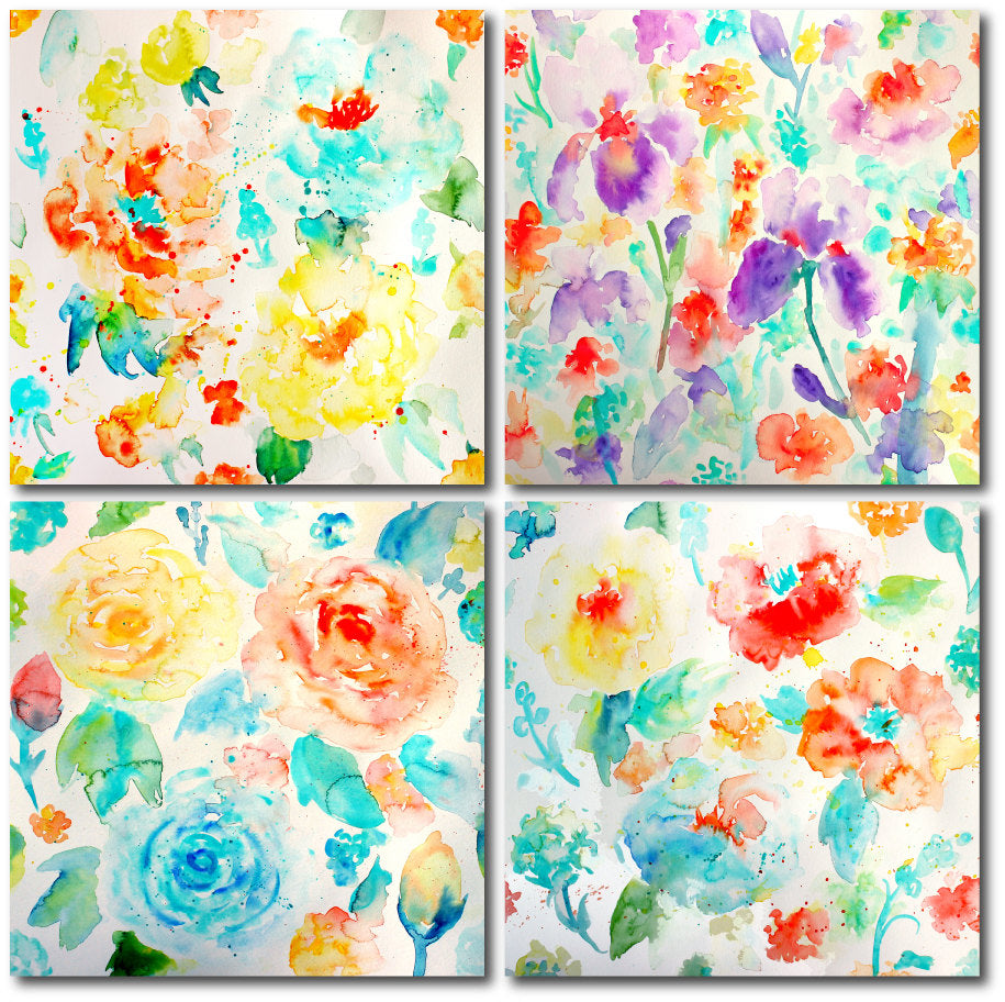 watercolor texture, abstract watercolor floral Patterns of roses, irises, poppies, daisies and ranunculus with paint splatters.