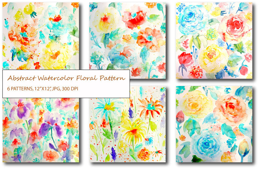 watercolor floral patterns, abstract watercolor floral Patterns of roses, irises, poppies, daisies and ranunculus with paint splatters.