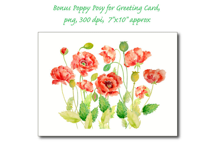 poppy card graphics, instant download