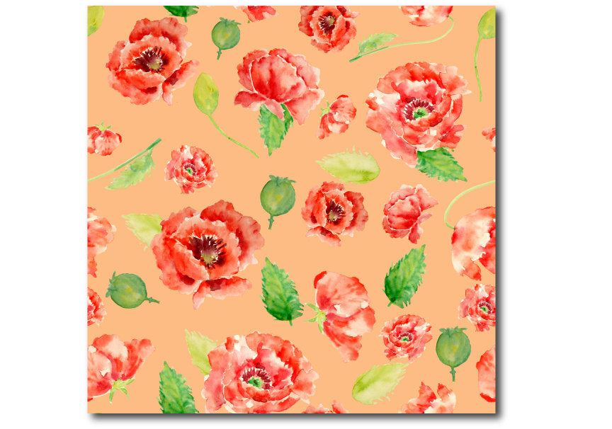 watercolor orange themed poppy pattern