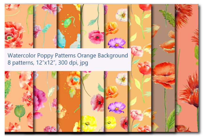 watercolor digital paper poppy pattern, orange theme