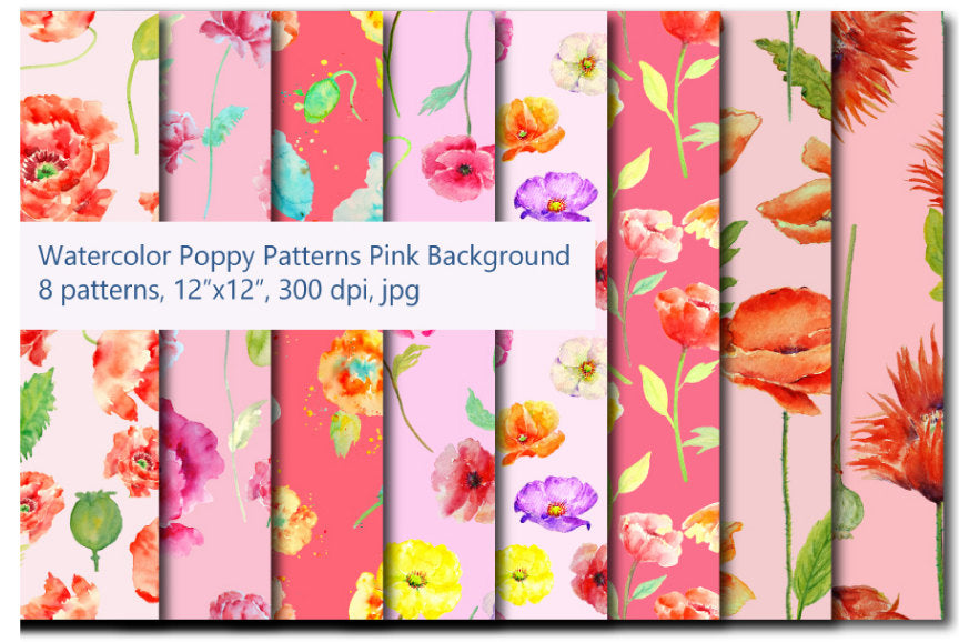 watercolor digital paper, pink theme, poppy pattern