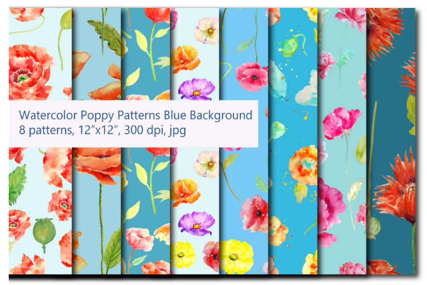 watercolor poppy pattern, blue background