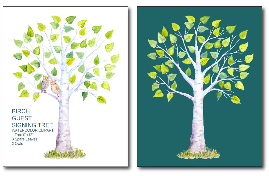 Wedding Clipart, watercolor birch guest signing tree