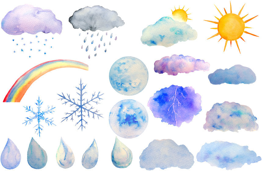 watercolor weather elements, sun, moon, cloud, rainbow, rain drops, watercolor illustration