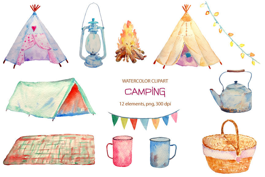 Hand painted watercolor camping clipart, teepee, tent, camp fire instant download for greeting cards, diy wedding invitations