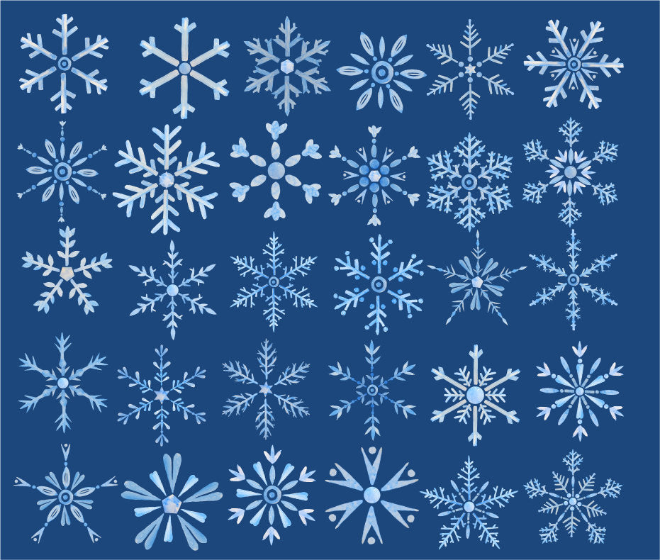 watercolor snowflake clipart, instant download