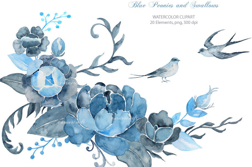 watercolor dark blue peony and bird, indigo peony, wedding flower