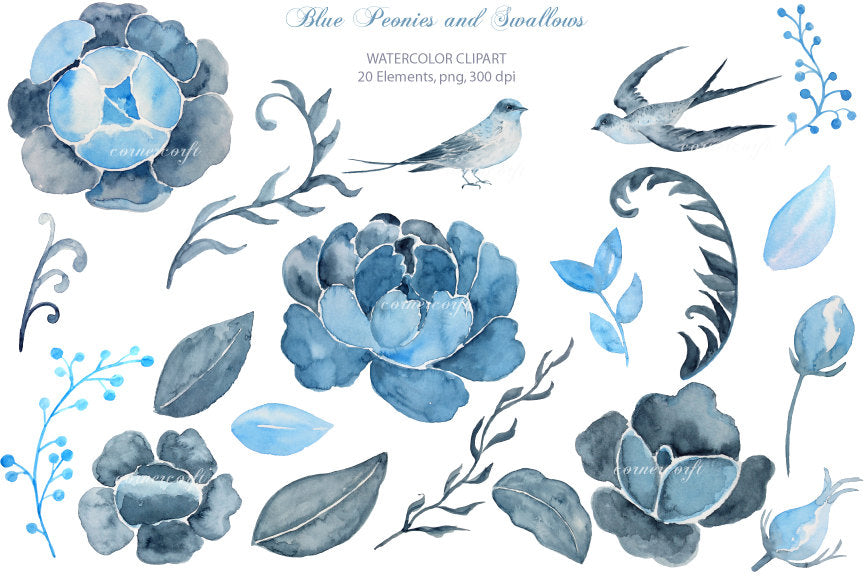 flower clipart, watercolor indigo peony and swallow