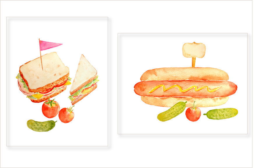 watercolor sandwiches, slice of sandwiches, bagel sandwich, hot dog, labels, signs, tomatoes and pickled gherkins.