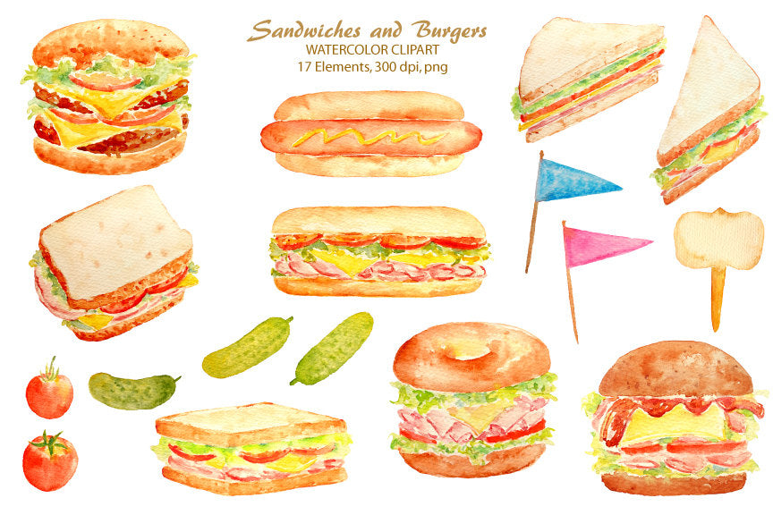 watercolor food clipart, sandwich, burger, hot dog, instant download