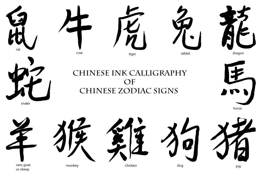 Watercolor clipart, Chinese, zodiac sign, Chinese horoscope, ink calligraphy