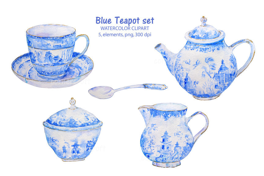 watercolor blue tea pot set clipart, detailed watercolor illustration