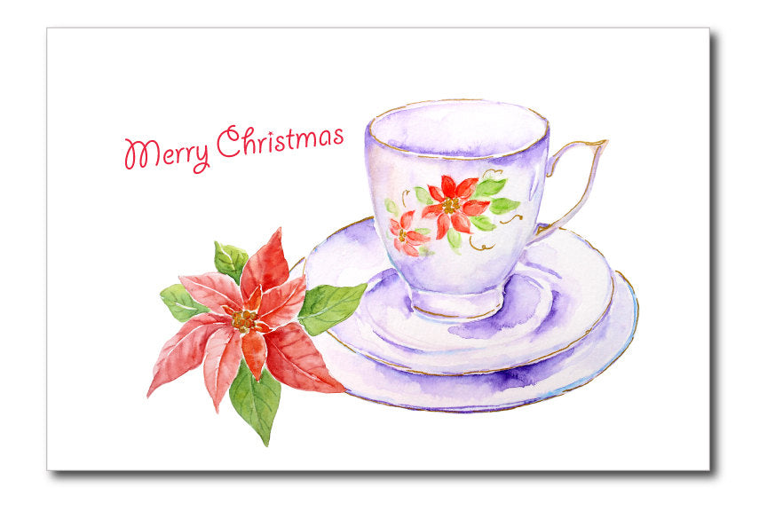 watercolor Christmas tea cup clipart, white tea cup with poinsettia, holly and ivy leaves