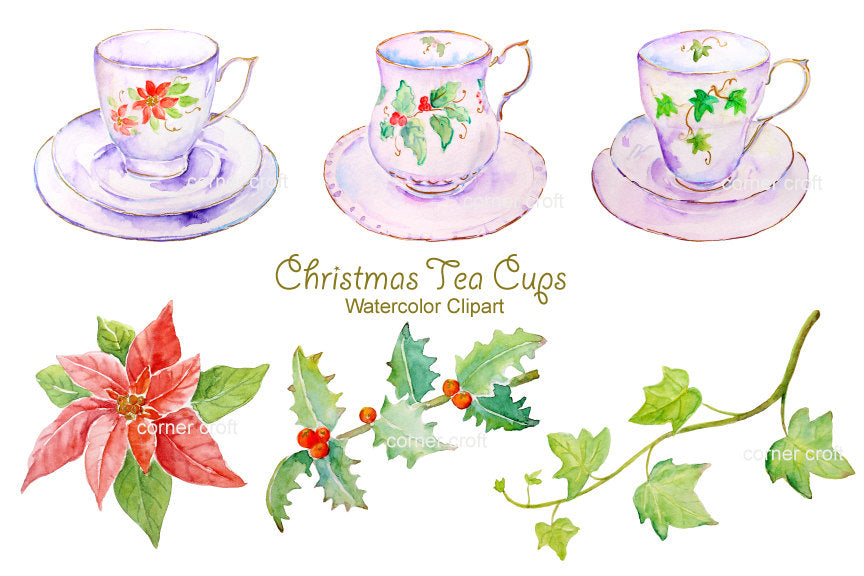 watercolor Christmas tea cup clipart, poinsettia, holly and ivy leaves