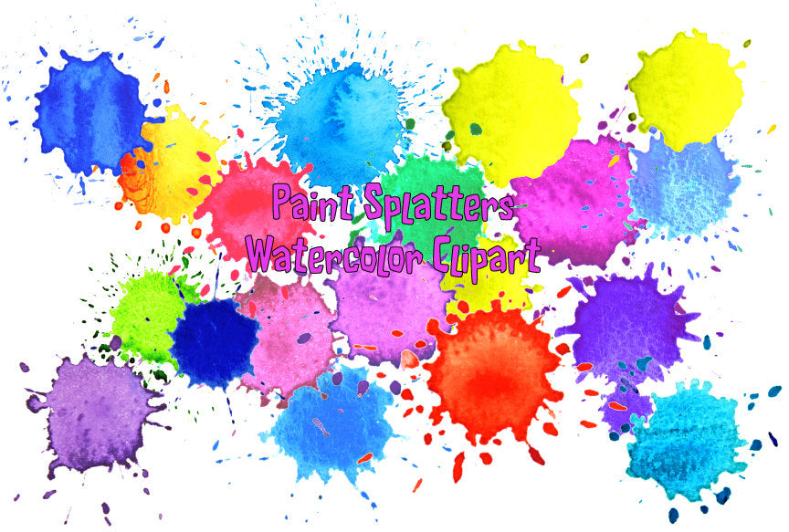 Watercolour paint splatter patterns, Paint drops and Paint splashes digital download