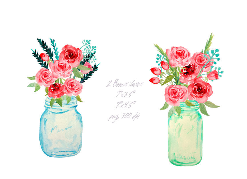 Watercolor mason jars and red roses printable, instant ...