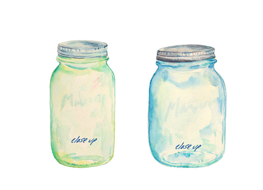mason jar with lid, watercolour illustration, corner croft design