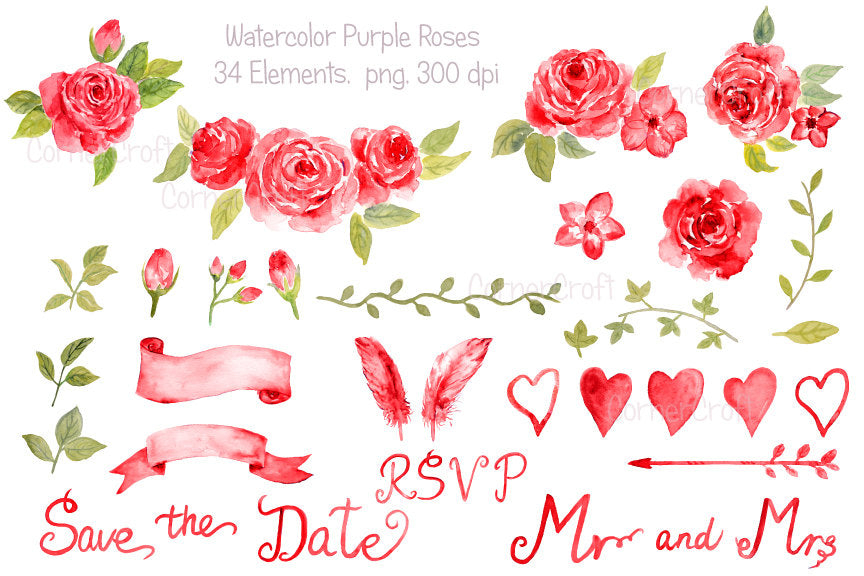 watercolor red rose collection, wedding rose, instant download