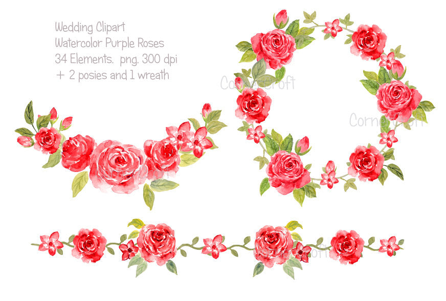 watercolor red rose collection, wedding rose collection, red roses, valentine roses