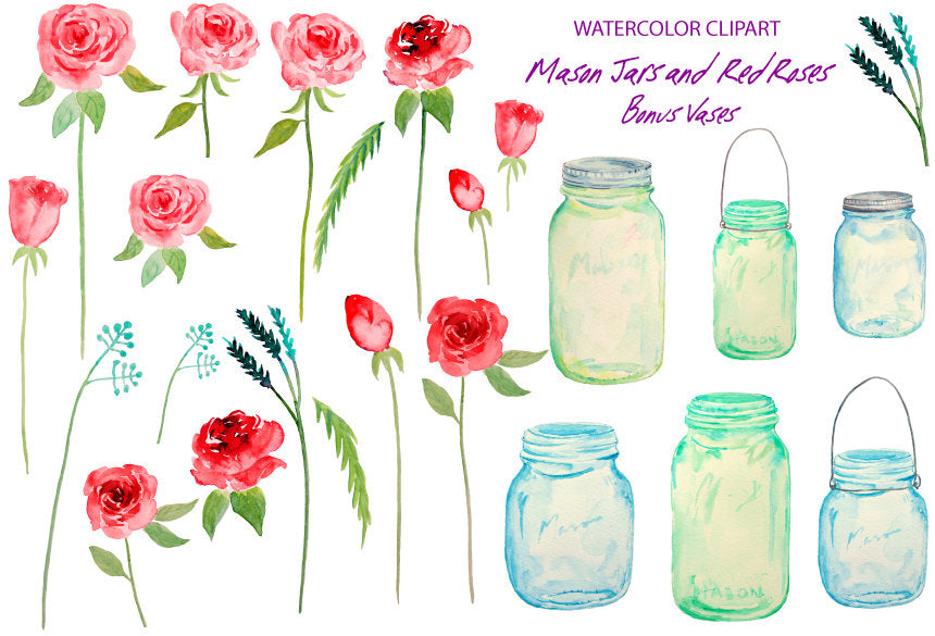 Watercolor Mason Jars And Red Roses Printable Instant Download