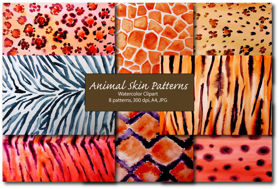 Watercolor animal skin patterns, The patterns include tigers, Cheetah, Leopard, jaguar, zebra, giraffe and snake