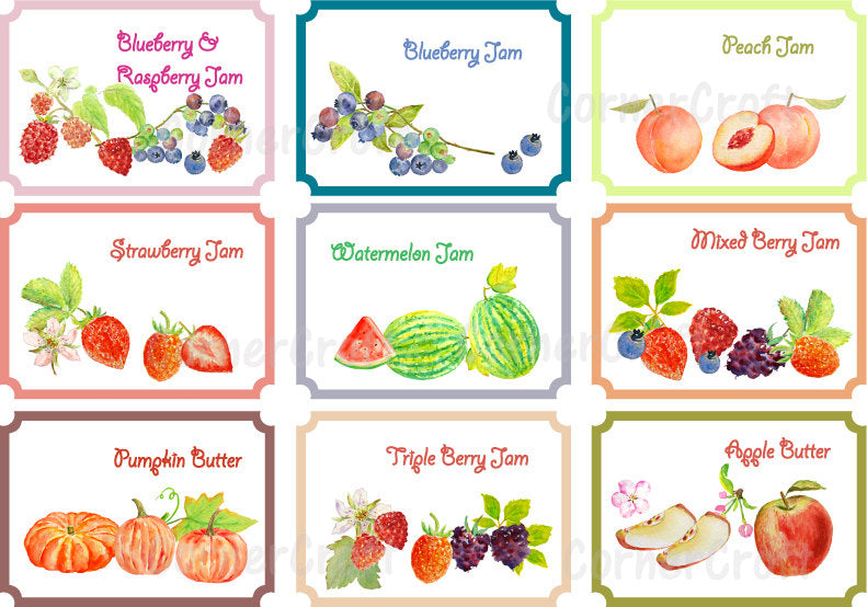 watercolor fruit label, jam label, watercolour label, gift label, jam label