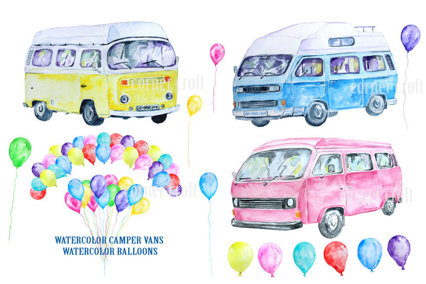 watercolor campervan, leisure vehicle, class camper van, balloons, pink, yellow and blue