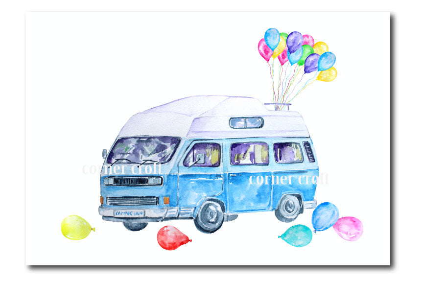 greeting cards watercolor campervan, leisure vehicle, class camper van, balloons, pink, yellow and blue