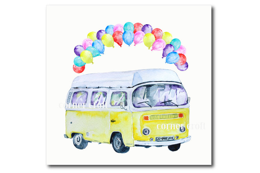 greeting cards, watercolor campervan, leisure vehicle, class camper van, balloons, pink, yellow and blue