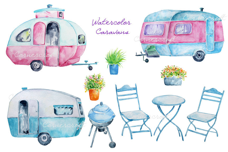 watercolor clipart vintage caravan, instant download, barbecue, table and chair