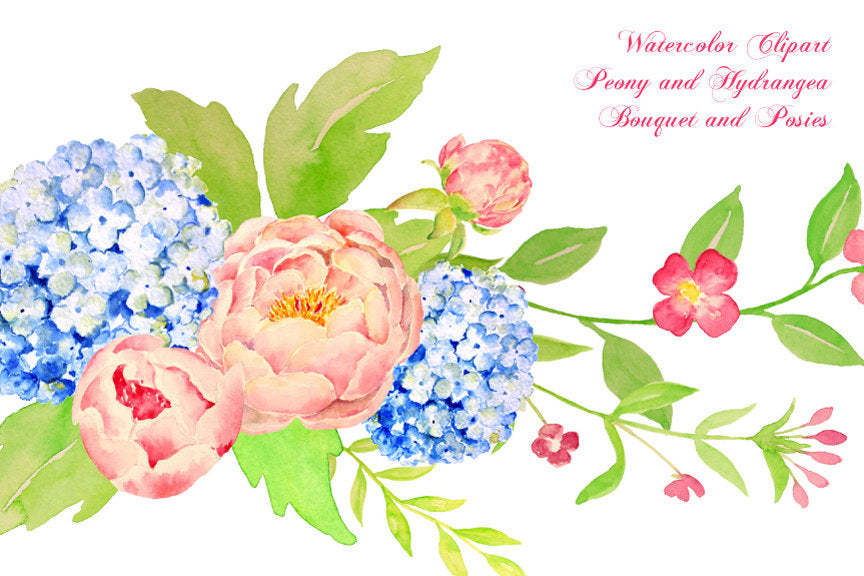 pink and peach peony, blue hydrangea floral bouquet, floral arrangement, instant download.
