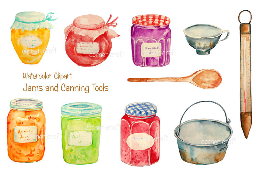 watercolour clipart jam jar, fruit jar, watercolour illustration canning equipment