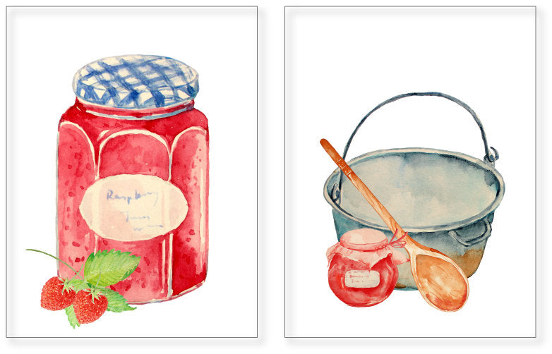 watercolor jam, watercolour illustration, label and sticker, food illustration