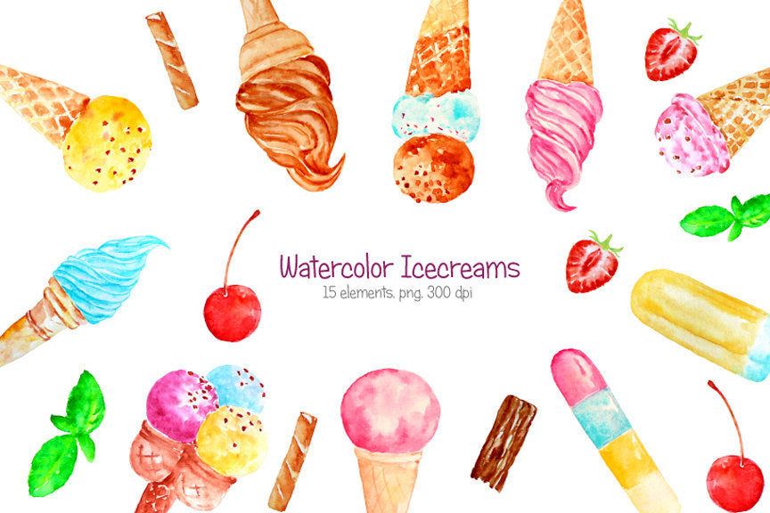 watercolour ice cream clipart, watercolour ice cream illustration, instant download