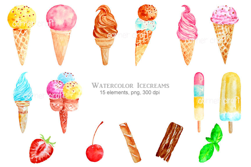 watercolour ice cream elements, digital file, realistic watercolour ice creams