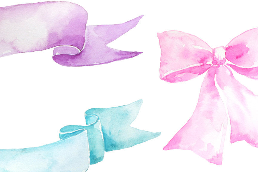 Hand painted watercolor banners, watercolor ribbons and watercolor bows pink blue, purple and yellow