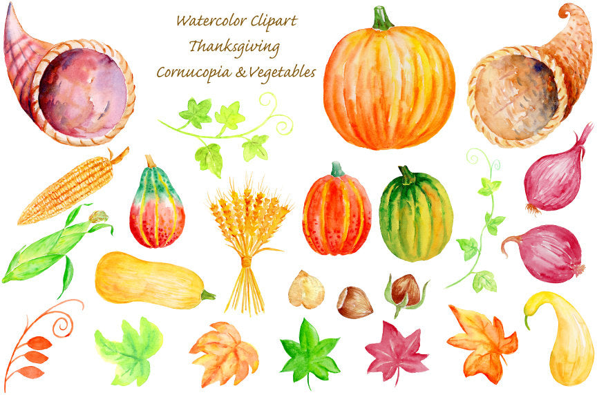 watercolor clipart hanksgiving cornucopia, crop (wheat), nuts, vegetables (sweetcorn, red onions, pumpkins and butternut squash)