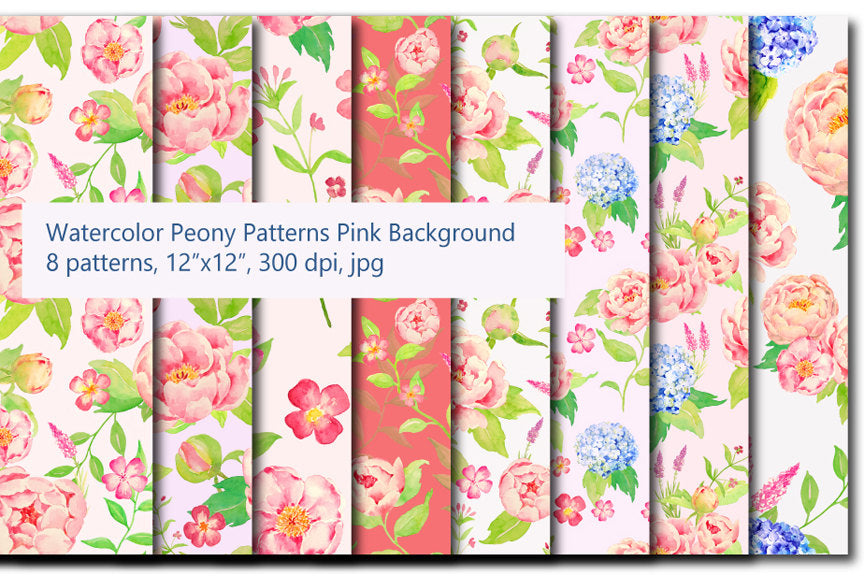 poney peony pattern digital paper, seamless pattern, repeat pattern, pink peony pattern.