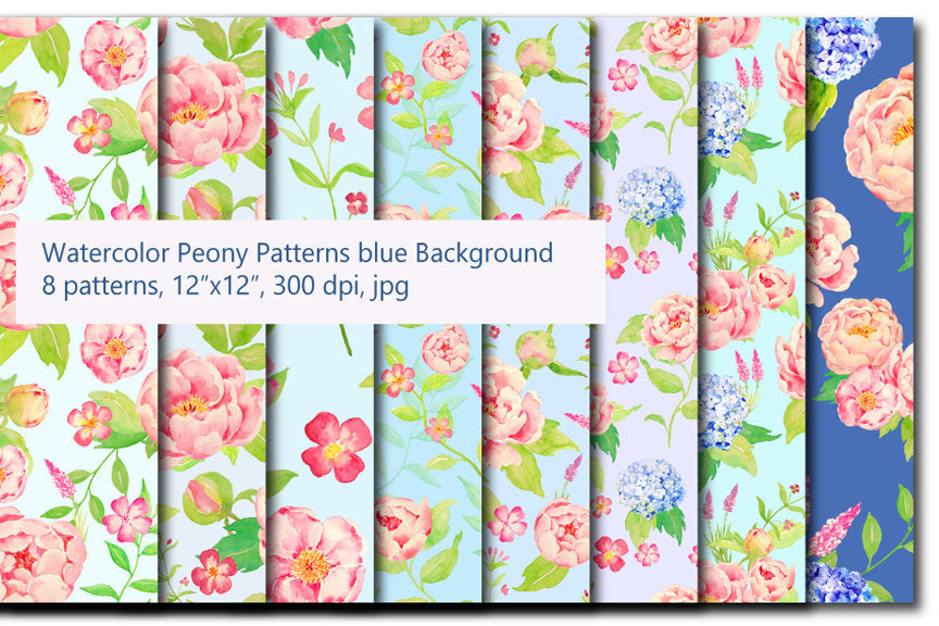 watercolor pattern, peony and hydrangea pattern, repeat pattern, seamless pattern.