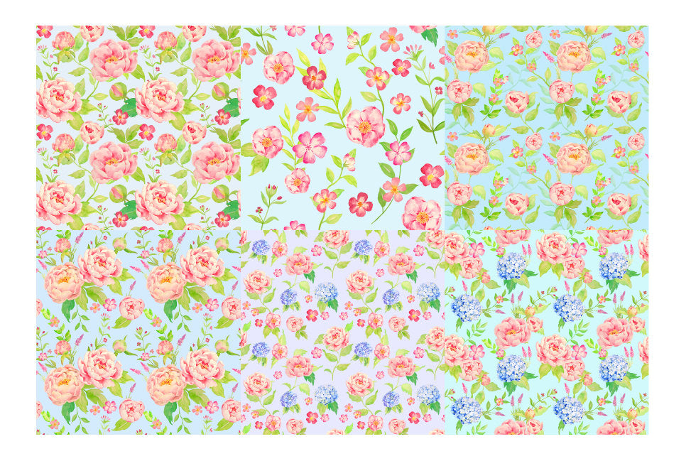 digital pattern of peony and hydrangea, blue background